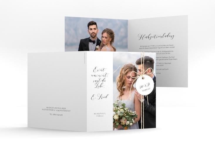 """Hochzeitseinladung """"Paperlove"""" Quadratische Klappkarte weiss"""