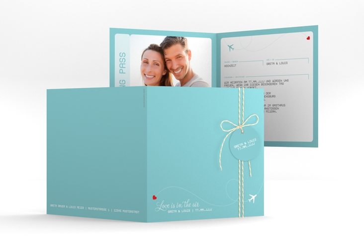 "Hochzeitseinladung ""Weddingpass"" Quadratische Klappkarte"