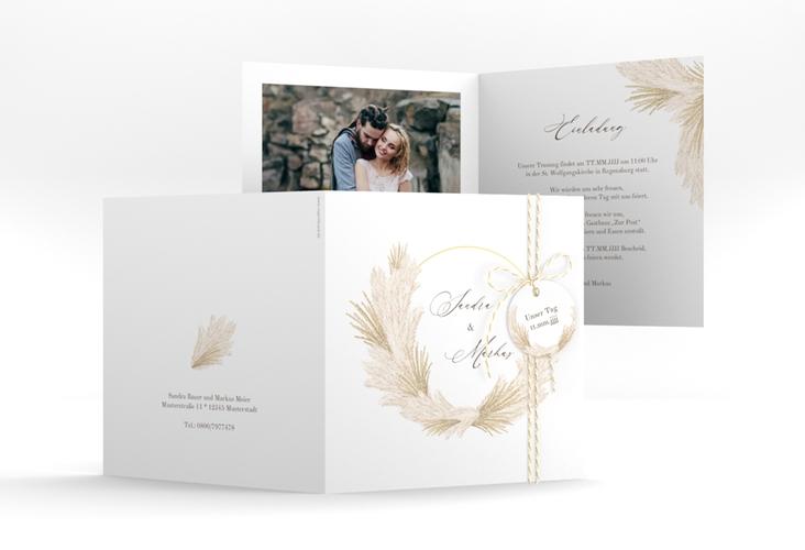 """Hochzeitseinladung """"Pumila"""" Quadratische Klappkarte weiss"""