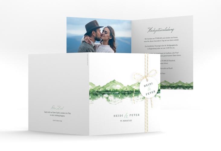 """Hochzeitseinladung """"Bergliebe"""" Quadratische Klappkarte gruen"""