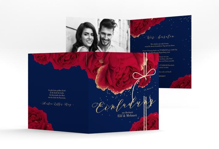 """Hochzeitseinladung """"Cherie"""" Quadratische Klappkarte"""