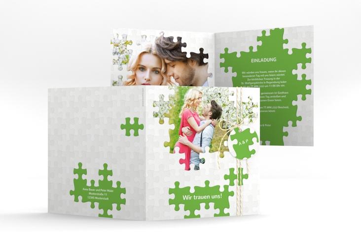 """Hochzeitseinladung """"Puzzle"""" Quadratische Klappkarte"""