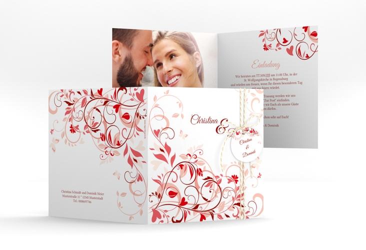 """Hochzeitseinladung """"Lilly"""" Quadratische Klappkarte rot"""