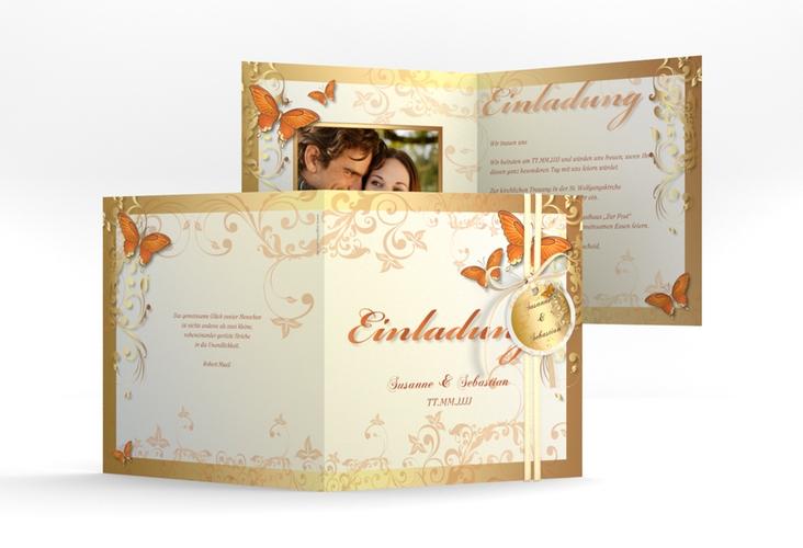 """Hochzeitseinladung """"Toulouse"""" Quadratische Klappkarte orange"""
