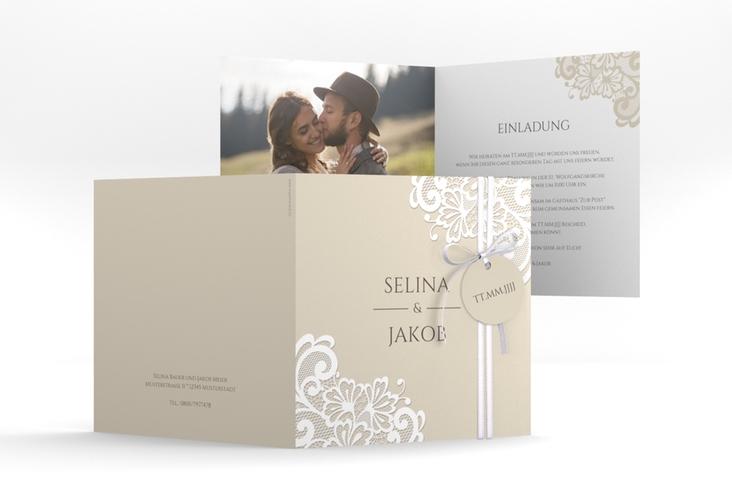 """Hochzeitseinladung """"Vintage"""" Quadratische Klappkarte beige"""