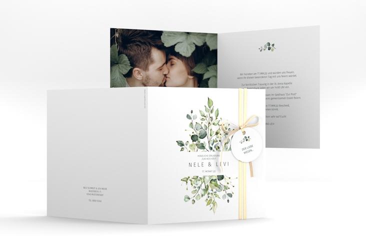 """Hochzeitseinladung """"Enchanting"""" Quadratische Klappkarte weiss"""