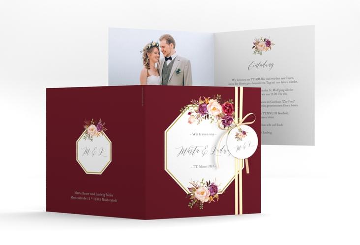 """Hochzeitseinladung """"Prachtvoll"""" Quadratische Klappkarte rot"""
