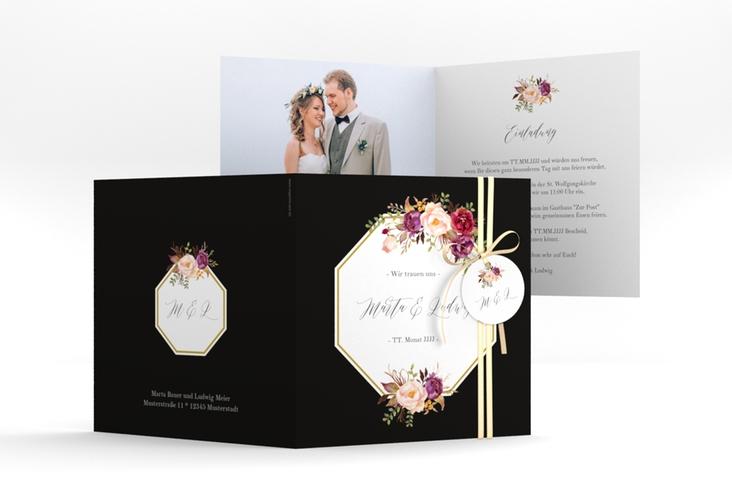 """Hochzeitseinladung """"Prachtvoll"""" Quadratische Klappkarte schwarz"""