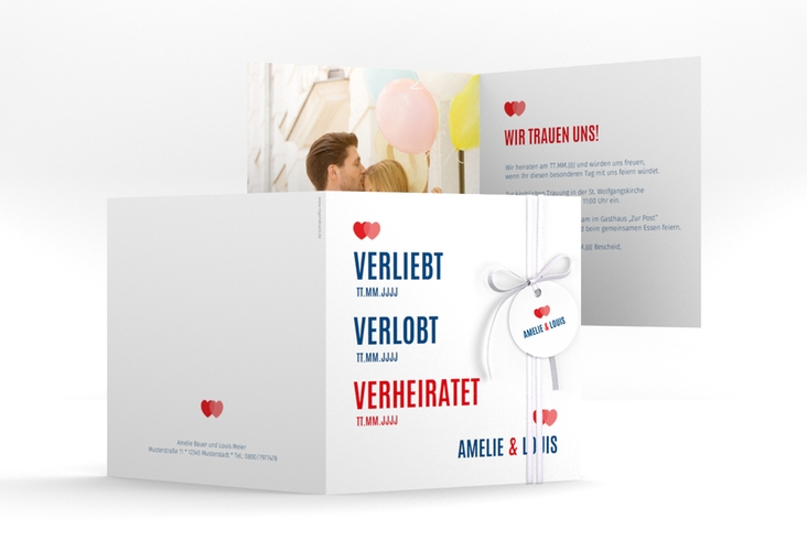 "Hochzeitseinladung ""Couple"" Quadratische Klappkarte rot"