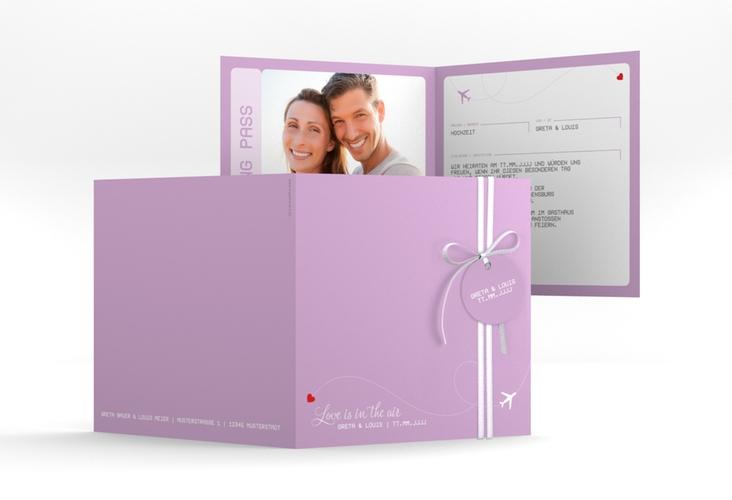 """Hochzeitseinladung """"Weddingpass"""" Quadratische Klappkarte flieder"""