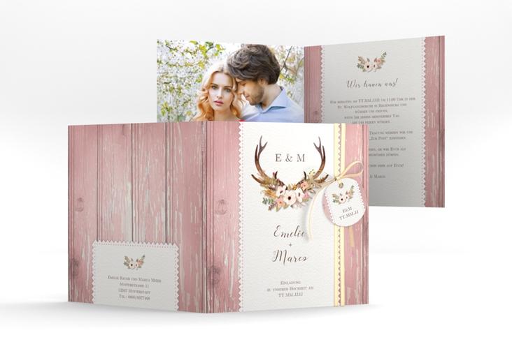 """Hochzeitseinladung """"Heimatjuwel"""" Quadratische Klappkarte rosa"""