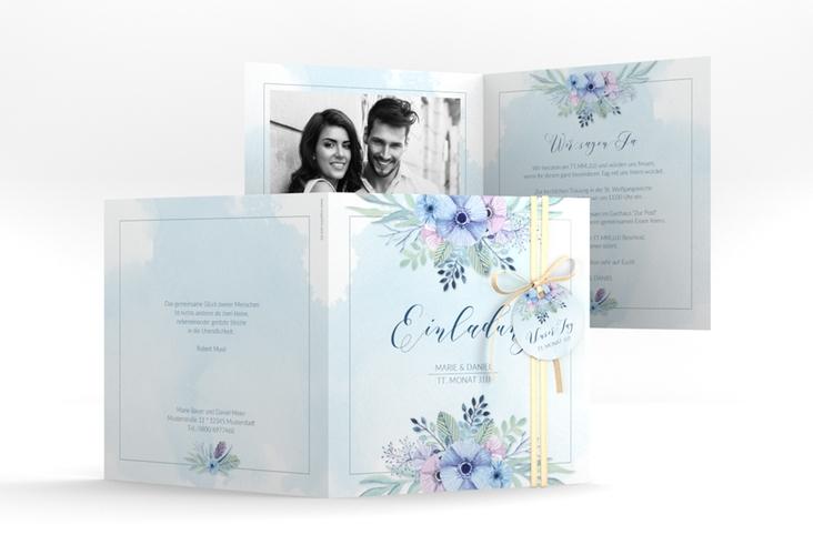 """Hochzeitseinladung """"Surfinia"""" Quadratische Klappkarte"""