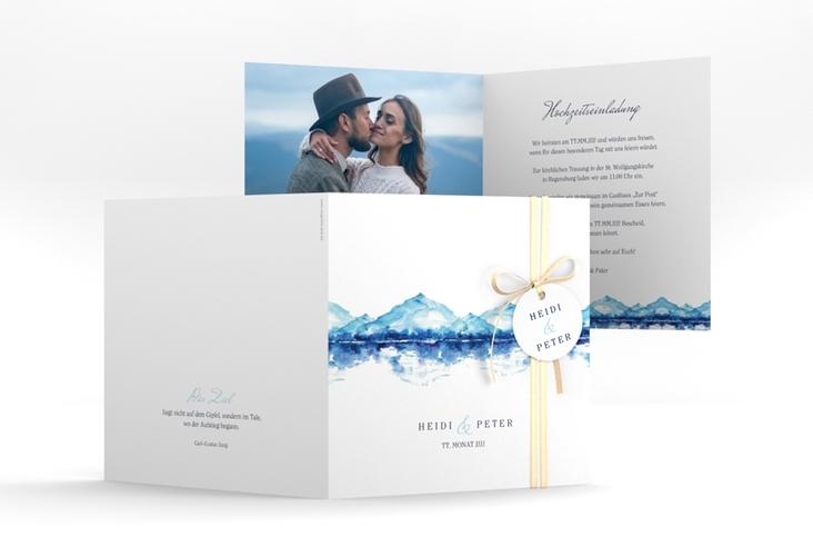 """Hochzeitseinladung """"Bergliebe"""" Quadratische Klappkarte blau"""