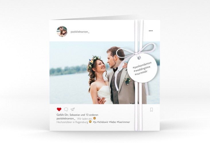 """Hochzeitseinladung """"Posting"""" Quadratische Klappkarte weiss"""