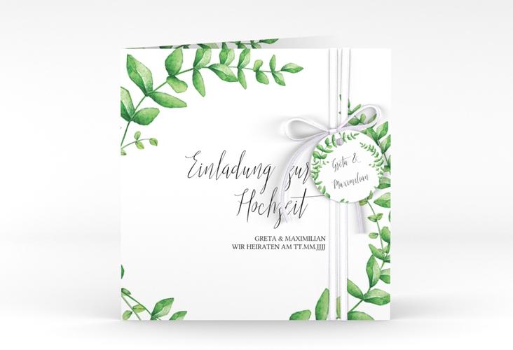 """Hochzeitseinladung """"Botanic"""" Quadratische Klappkarte"""