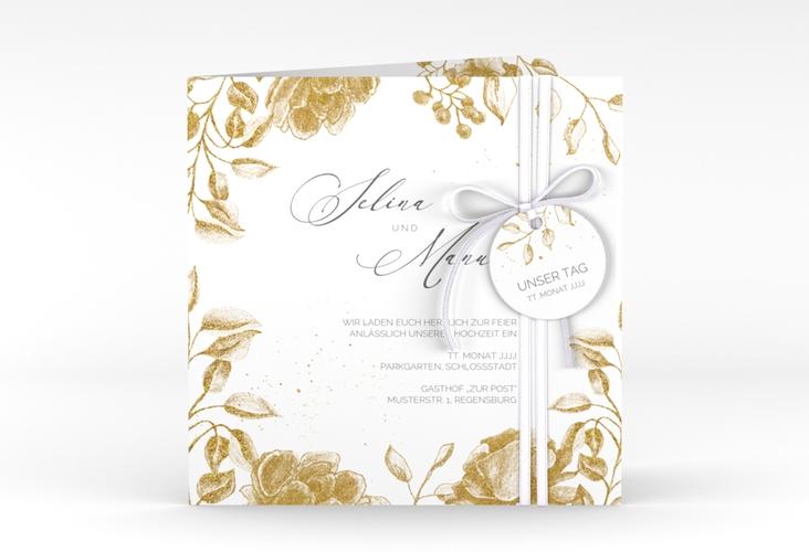 """Hochzeitseinladung """"Blattgold"""" Quadratische Klappkarte gold"""