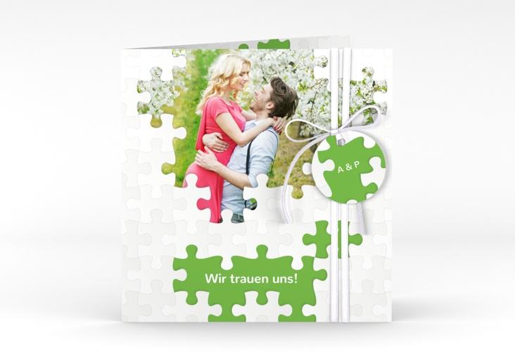 """Hochzeitseinladung """"Puzzle"""" Quadratische Klappkarte gruen"""