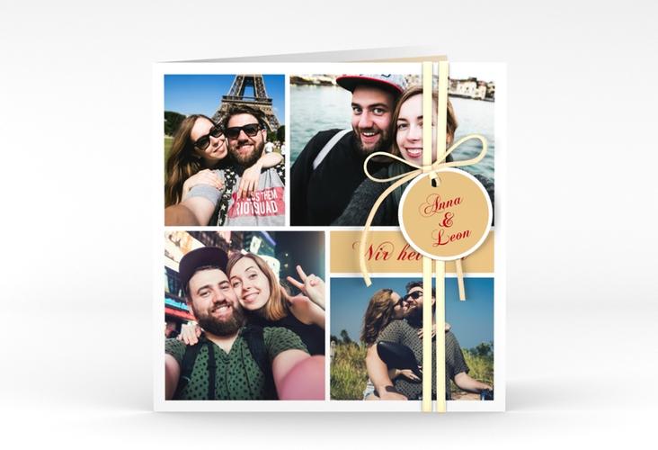 """Hochzeitseinladung """"Collage"""" Quadratische Klappkarte apricot"""