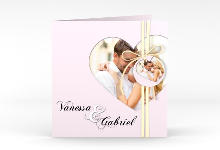 "Hochzeitseinladung ""Sweetheart"" Quadratische Klappkarte rosa"