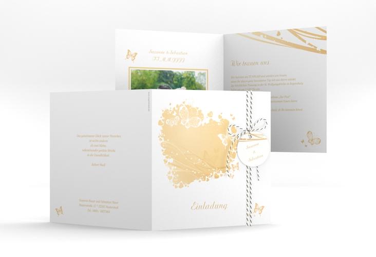 """Hochzeitseinladung """"Mailand"""" Quadratische Klappkarte beige"""