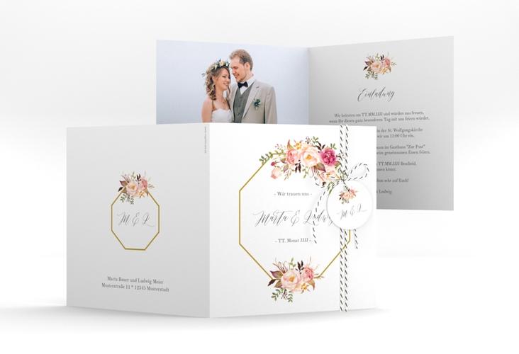 """Hochzeitseinladung """"Prachtvoll"""" Quadratische Klappkarte"""