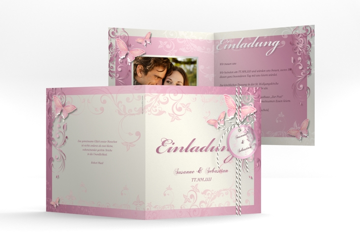 """Hochzeitseinladung """"Toulouse"""" Quadratische Klappkarte rosa"""