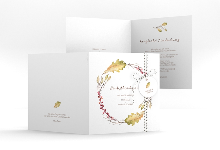 """Hochzeitseinladung """"Herbsthochzeit"""" Quadratische Klappkarte"""