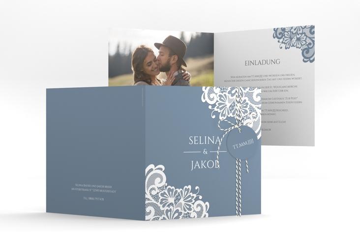 """Hochzeitseinladung """"Vintage"""" Quadratische Klappkarte blau"""