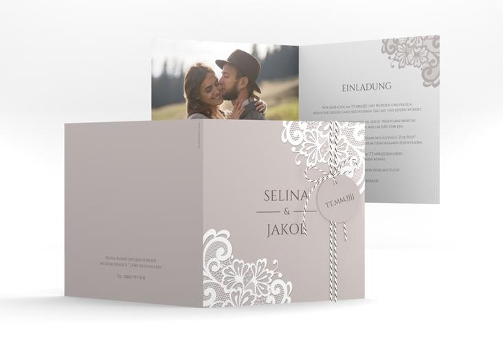 """Hochzeitseinladung """"Vintage"""" Quadratische Klappkarte grau"""