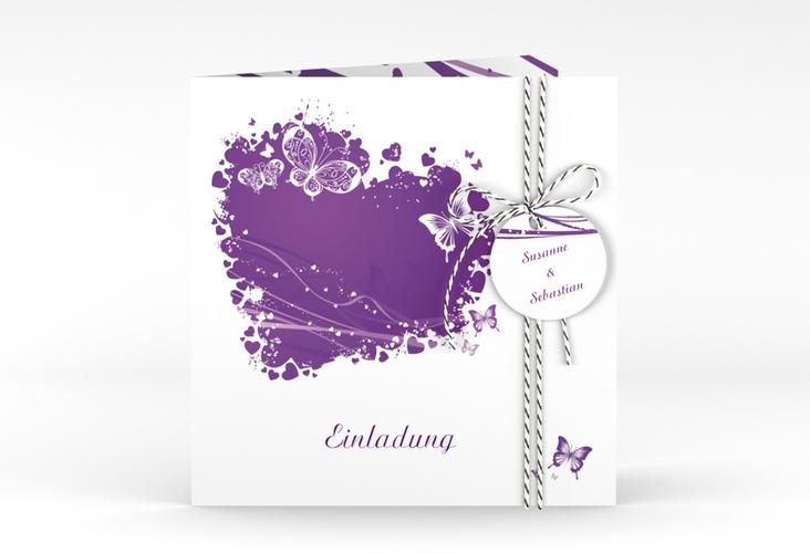 """Hochzeitseinladung """"Mailand"""" Quadratische Klappkarte lila"""