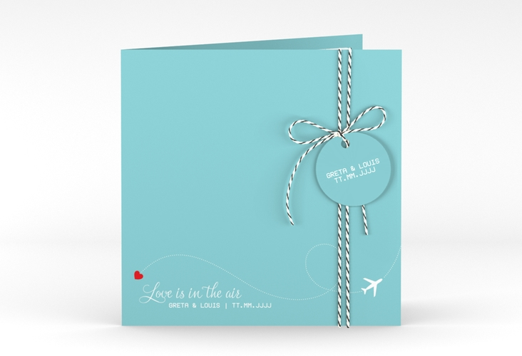 """Hochzeitseinladung """"Weddingpass"""" Quadratische Klappkarte blau"""