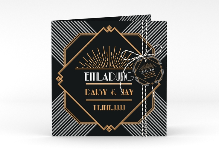 """Hochzeitseinladung """"Gatsby"""" Quadratische Klappkarte"""