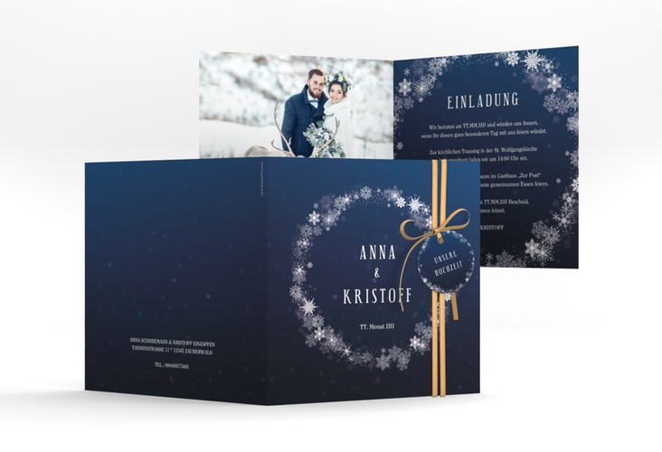 """Hochzeitseinladung """"Winterdream"""" Quadratische Klappkarte"""