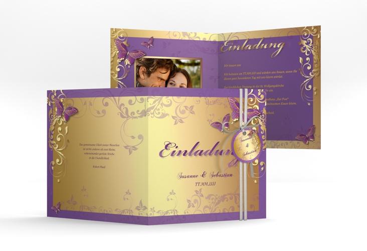 """Hochzeitseinladung """"Toulouse"""" Quadratische Klappkarte lila"""