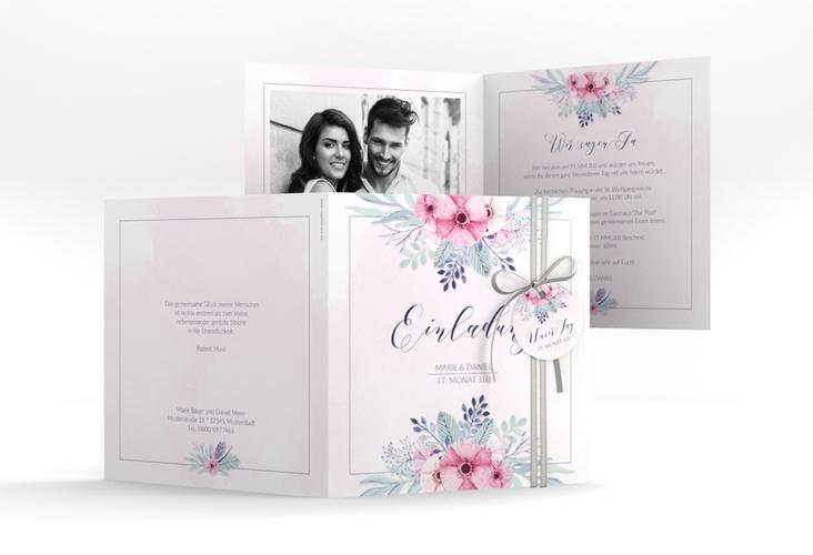 """Hochzeitseinladung """"Surfinia"""" Quadratische Klappkarte rosa"""