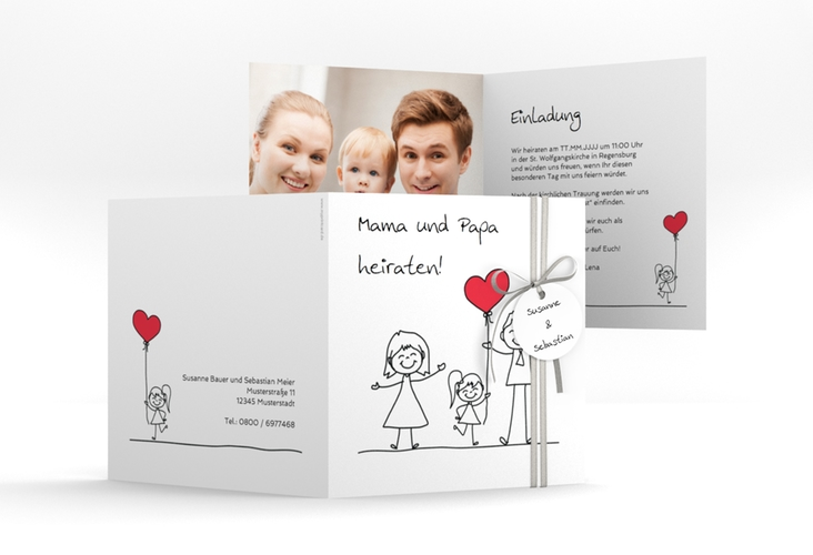 """Hochzeitseinladung """"Familia"""" Quadratische Klappkarte weiss"""