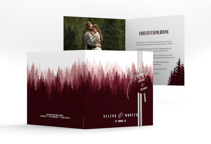 """Hochzeitseinladung """"Forest"""" Quadratische Klappkarte rot"""