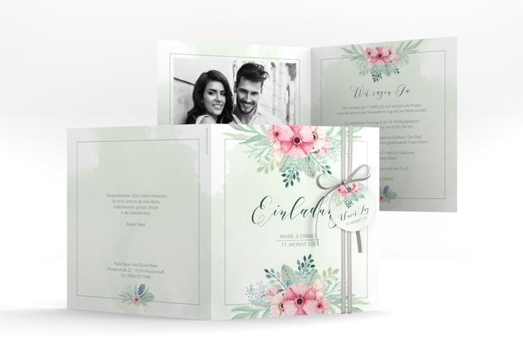 """Hochzeitseinladung """"Surfinia"""" Quadratische Klappkarte gruen"""