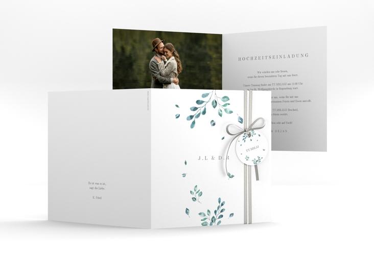 """Hochzeitseinladung """"Precioso"""" Quadratische Klappkarte weiss"""