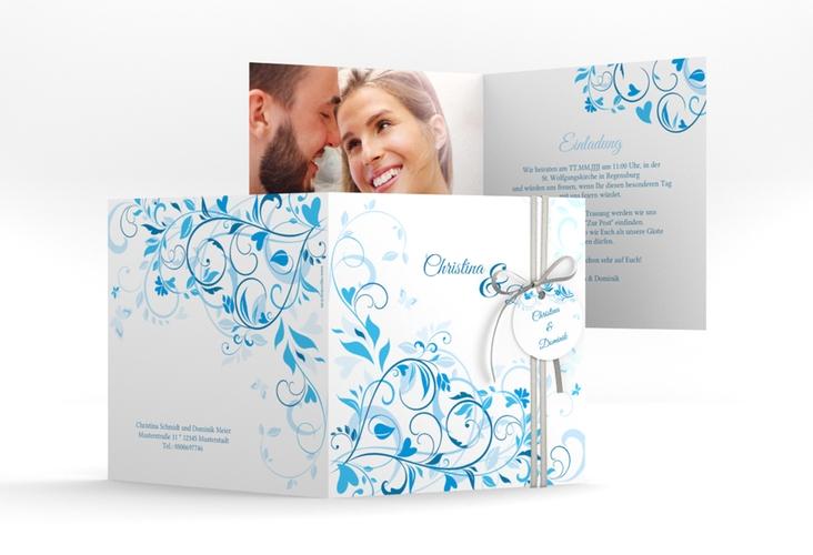 """Hochzeitseinladung """"Lilly"""" Quadratische Klappkarte blau"""