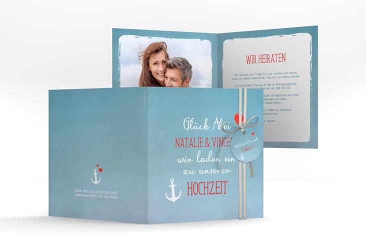 """Hochzeitseinladung """"Ehehafen"""" Quadratische Klappkarte blau"""