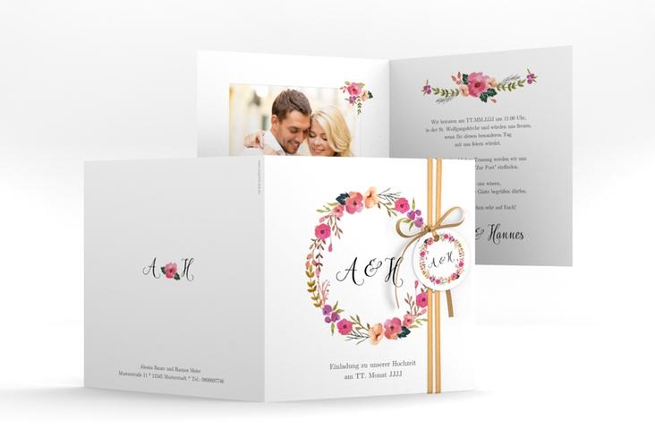 """Hochzeitseinladung """"Fiore"""" Quadratische Klappkarte"""