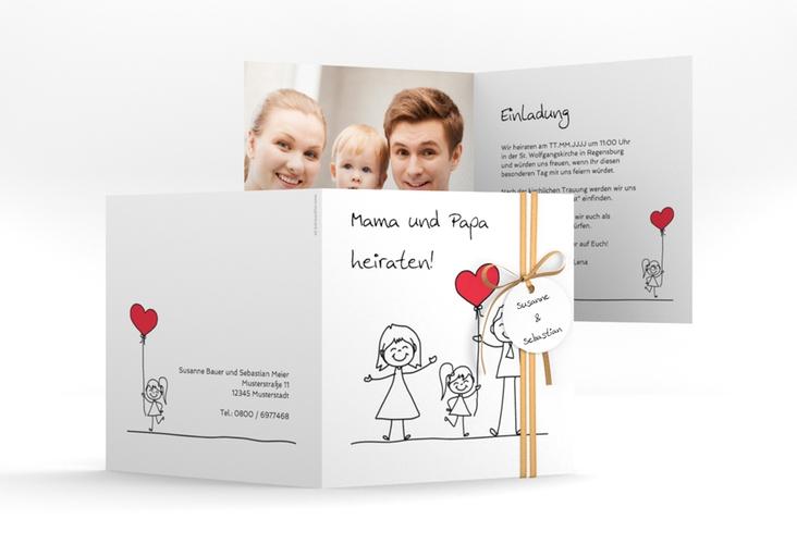 """Hochzeitseinladung """"Familia"""" Quadratische Klappkarte"""