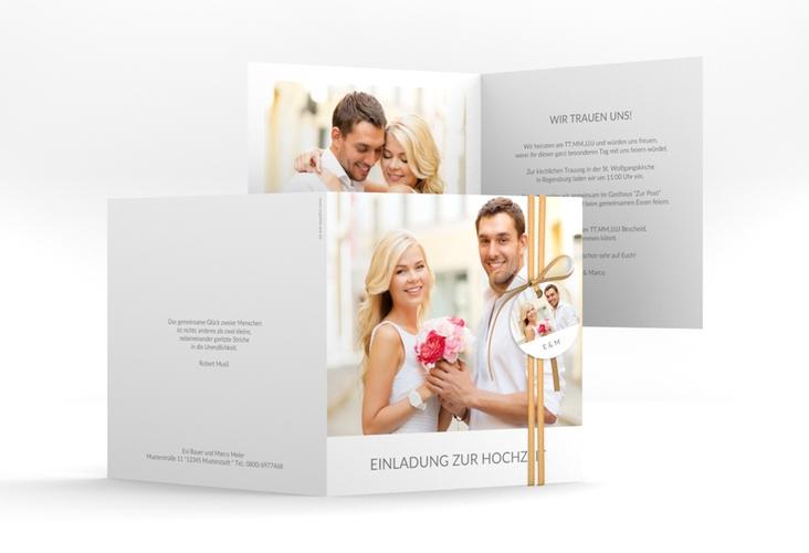 """Hochzeitseinladung """"Vista"""" Quadratische Klappkarte weiss"""