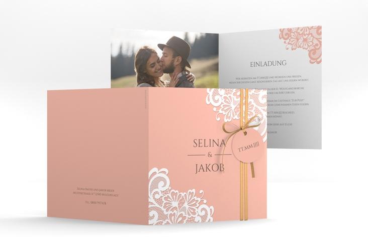 """Hochzeitseinladung """"Vintage"""" Quadratische Klappkarte apricot"""