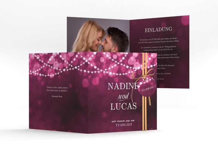 """Hochzeitseinladung """"Lichtspiel"""" Quadratische Klappkarte"""
