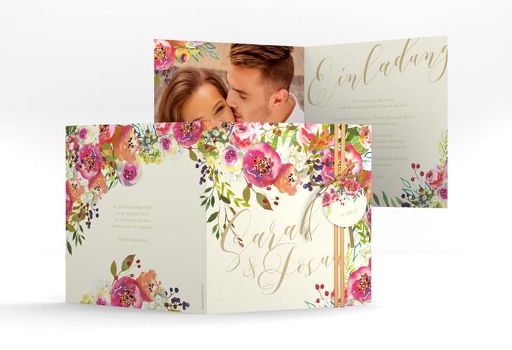 """Hochzeitseinladung """"Flowerbomb"""" Quadratische Klappkarte beige"""