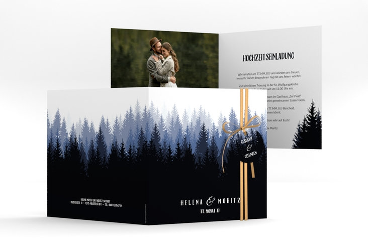 """Hochzeitseinladung """"Forest"""" Quadratische Klappkarte"""