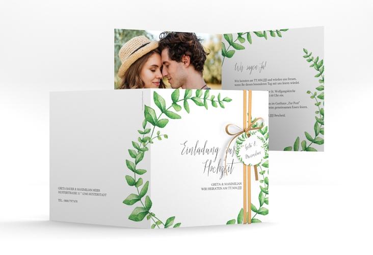 """Hochzeitseinladung """"Botanic"""" Quadratische Klappkarte weiss"""