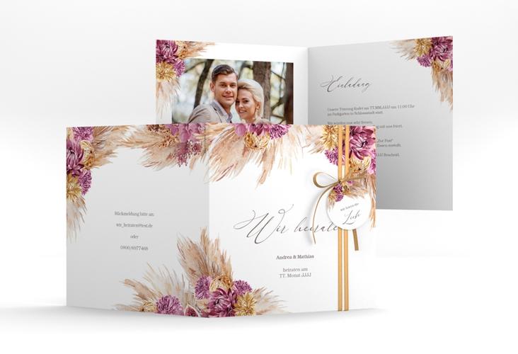 """Hochzeitseinladung """"Pampas"""" Quadratische Klappkarte"""